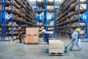 Packed goods in a warehouse