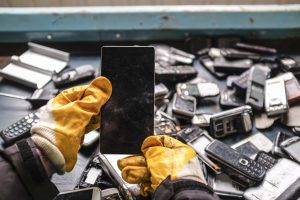 photo of mobile phones being recycled