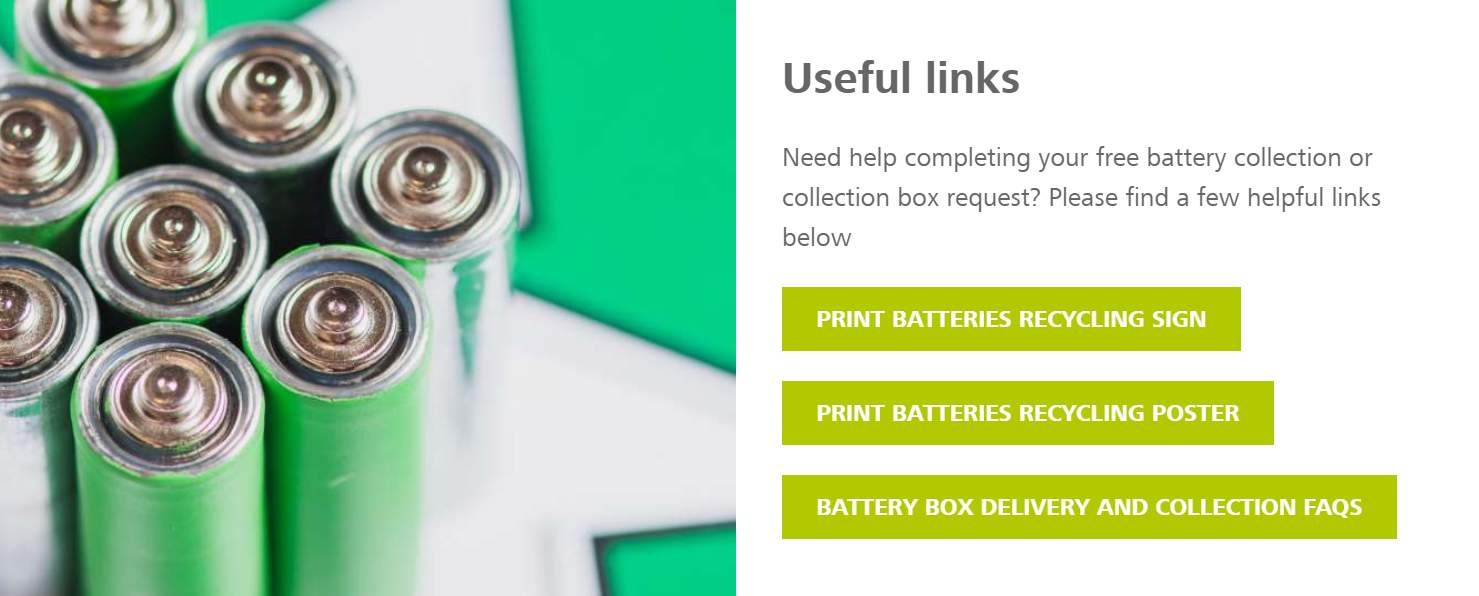 screenshot of battery request page