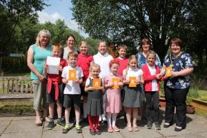 Photo of students and staff of Ysgol Dolafon school