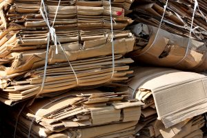photo of cardboard bundles for recycling