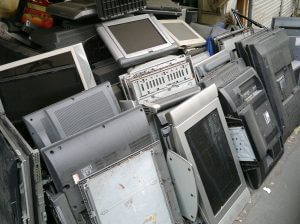 photo of old flat panel televisions